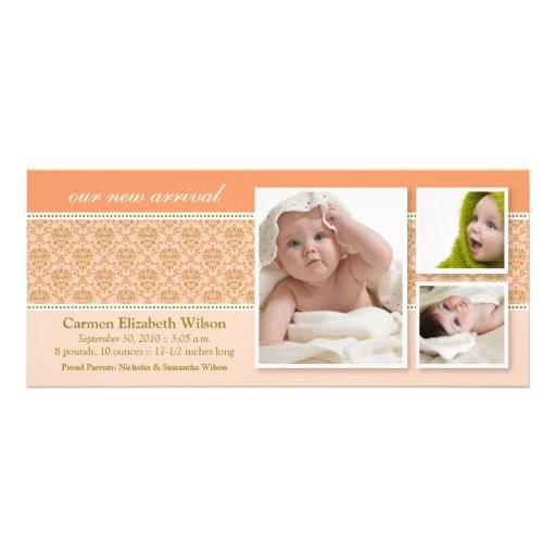 {TBA} Barockt meddelande för födelse 3-Photo (pers Anpassningsbara Inbjudningskort
