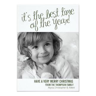 (TBA) Bäst grönt för kort för Time-Jul helgdagfoto 12,7 X 17,8 Cm Inbjudningskort