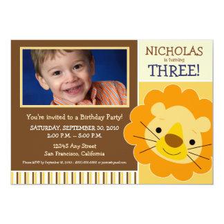 {TBA} Bedårande lejon pojkefödelsedaginbjudan 12,7 X 17,8 Cm Inbjudningskort