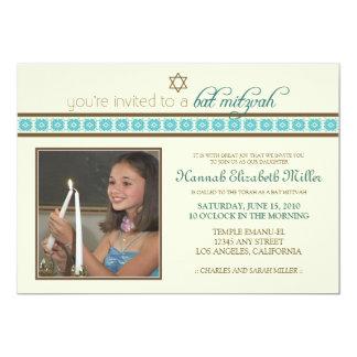{TBA} Beställnings- utsmyckad bat mitzvah 12,7 X 17,8 Cm Inbjudningskort