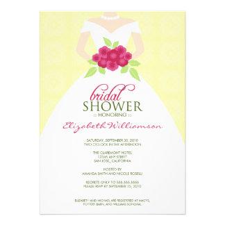 TBA Bröllopsklänningmöhippainbjudan gult Anpassade Inbjudan