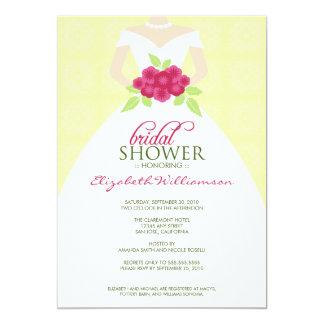 {TBA} Bröllopsklänningmöhippainbjudan (gult) 12,7 X 17,8 Cm Inbjudningskort