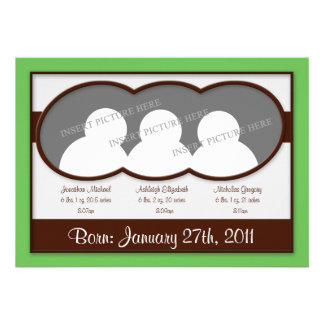 TBA Brun grön Tripletstillkännagivande för födel Anpassade Inbjudningskort