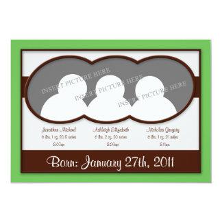 {TBA} Brun grön Tripletstillkännagivande för 12,7 X 17,8 Cm Inbjudningskort