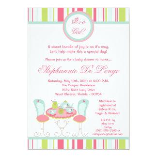 {TBA} den moderiktiga för partybaby shower för Tea 12,7 X 17,8 Cm Inbjudningskort