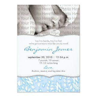{TBA} Dyrbart blom- födelsemeddelande (blått) 12,7 X 17,8 Cm Inbjudningskort