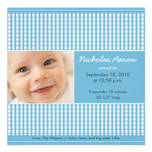 {TBA} Dyrbart födelsemeddelande för Gingham (blått Tillkännagivande