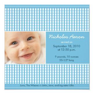 {TBA} Dyrbart födelsemeddelande för Gingham Fyrkantigt 13,3 Cm Inbjudningskort