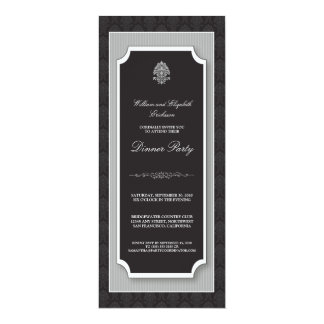 {TBA} Elegant damastast middagpartyinbjudan 10,2 X 23,5 Cm Inbjudningskort