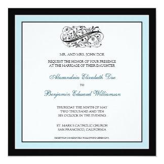 {TBA} Enkelt elegant bröllopinbjudan (svart/blått) Fyrkantigt 13,3 Cm Inbjudningskort