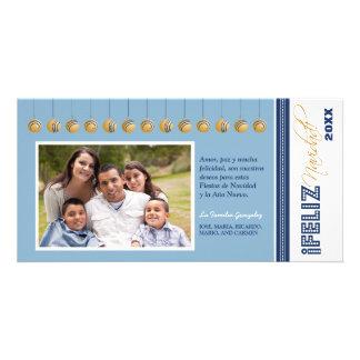 {TBA} Feliz Navidad helgdag Photocard (blått) Fotokort