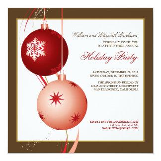 {TBA} Festlig julfestinbjudan (bruntet) Fyrkantigt 13,3 Cm Inbjudningskort