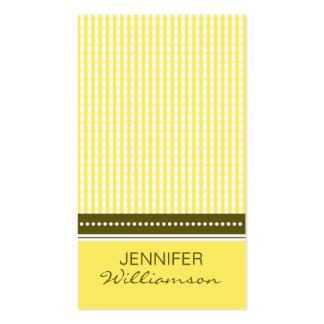 {TBA}:: gul gingham för anpassad design:: Set Av Standard Visitkort