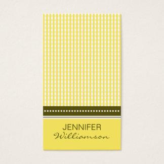 {TBA}:: gul gingham för anpassad design:: Visitkort