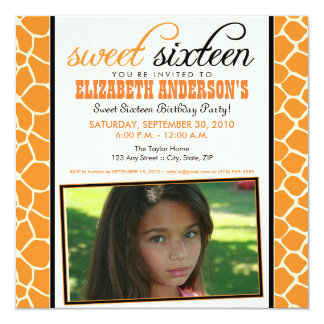 {TBA} Inbjudan för 16 party för giraff söt