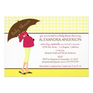 {TBA} Inbjudan för paraplymammababy shower (gult)