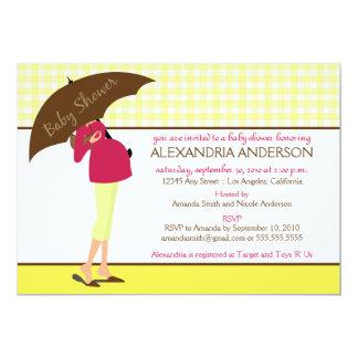 {TBA} Inbjudan för paraplymammababy shower (gult) 12,7 X 17,8 Cm Inbjudningskort