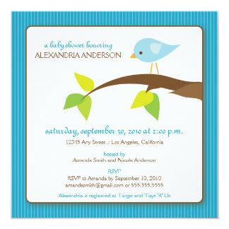 {TBA} Inbjudan för TweetTweetbaby shower (aqua) Fyrkantigt 13,3 Cm Inbjudningskort