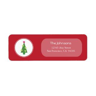 {TBA} Inramad (röd) trädhelgdagadressetiketter Returadress Etikett