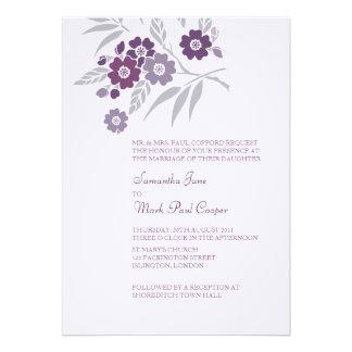 TBA Körsbärsröda blommarbröllopinbjudningar