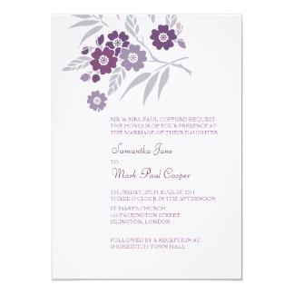 TBA: Körsbärsröda blommarbröllopinbjudningar 12,7 X 17,8 Cm Inbjudningskort