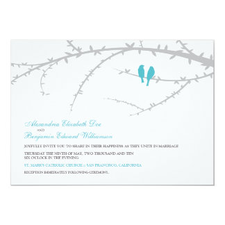 {TBA} Love birds som gifta sig inbjudan (aqua)