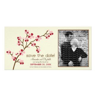 {TBA} Röd/körsbärsröd blommarspara för elfenben da Anpassingsbara Fotokort