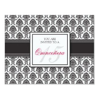 {TBA} Svart damastast Quinceanera för ENGELSKA 10,8 X 14 Cm Inbjudningskort