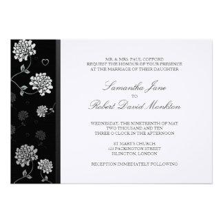 TBA Svartvita blom- bröllopinbjudningar