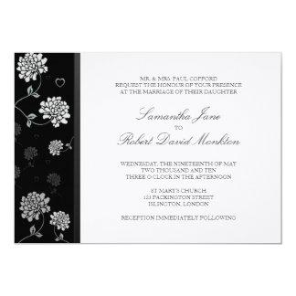 TBA: Svartvita blom- bröllopinbjudningar 12,7 X 17,8 Cm Inbjudningskort