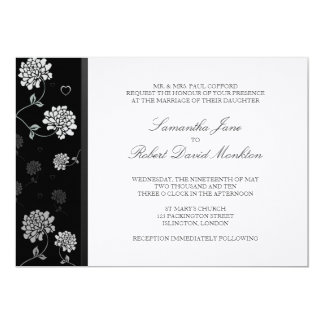TBA: Svartvita blom- bröllopinbjudningar Anpassningsbara Tillkännagivanden