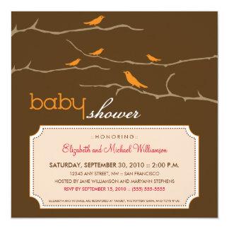 {TBA} Tweet! Tweet! Baby showerinbjudan (orangen) Fyrkantigt 13,3 Cm Inbjudningskort