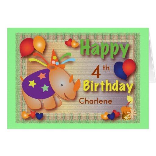 Tba-utmärkelsevinnare: Babynoshörning:: Födelsedag Hälsningskort