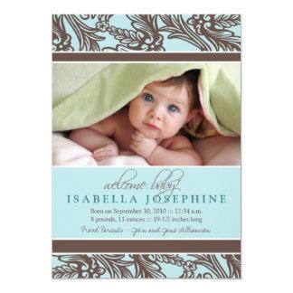 {TBA} Utsmyckat blom- babyfödelsemeddelande 12,7 X 17,8 Cm Inbjudningskort