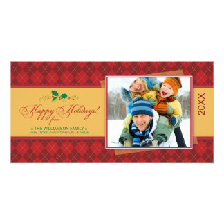 {TBA} VinterArgyle glad helg (röda) Photocard Fotokort Mall