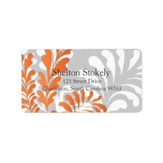 <TBA WINNER>Tropisk blom- orange, vit & grått Adressetikett