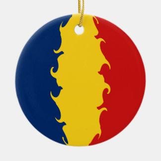 Tchad Gnarly flagga Rund Julgransprydnad I Keramik
