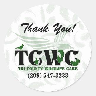 TCWC - Gröna tackklistermärkear för logotyp Runt Klistermärke