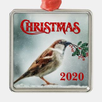 TCWC - Specifik Sparrow för julår i snön Julgransprydnad Metall