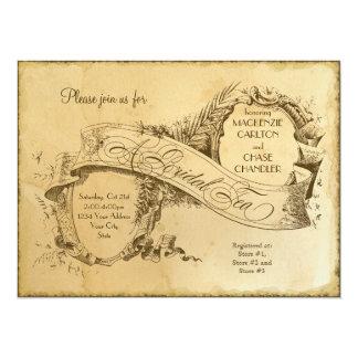 Tea befläckt vintage bröllop 1 - inbjudaninbjudan 14 x 19,5 cm inbjudningskort