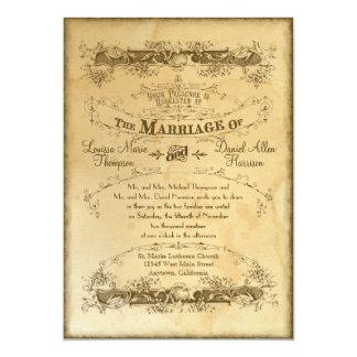 Tea befläckt vintage bröllop 2 - inbjudaninbjudan 12,7 x 17,8 cm inbjudningskort