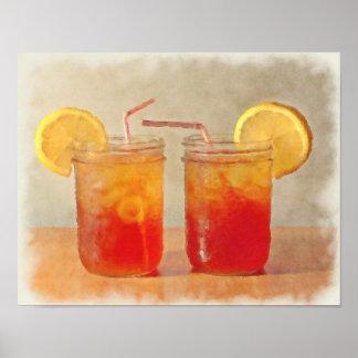 Tea för två sydliga stilMasonburkar av söt Tea Poster