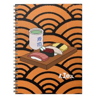 Tea & Sushi för japan grön Anteckningsbok Med Spiral