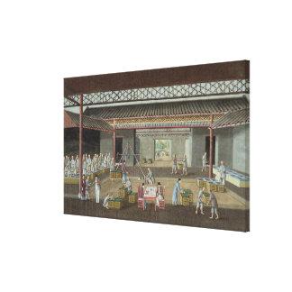 Teabussgaraget (gouachen på silke) canvastryck
