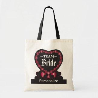 Team för brud | röd |Wedding | DIY text för rubyen Budget Tygkasse