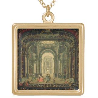 Teatroen Reale i Turin (olja på kanfas) Guldpläterat Halsband