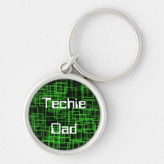 Techie pappakeychain rund silverfärgad nyckelring