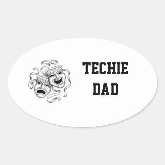 Techie pappaklistermärke ovalt klistermärke