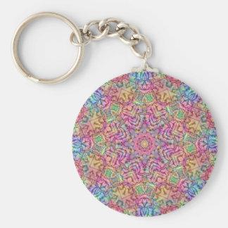 Techno färgmönster Keychains, 3 stilar Rund Nyckelring
