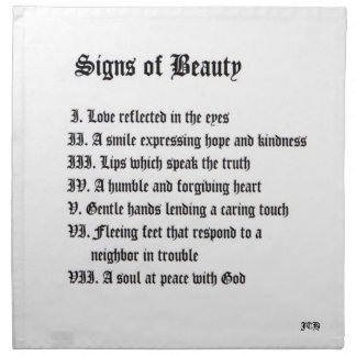 Tecken av skönhet tygservett